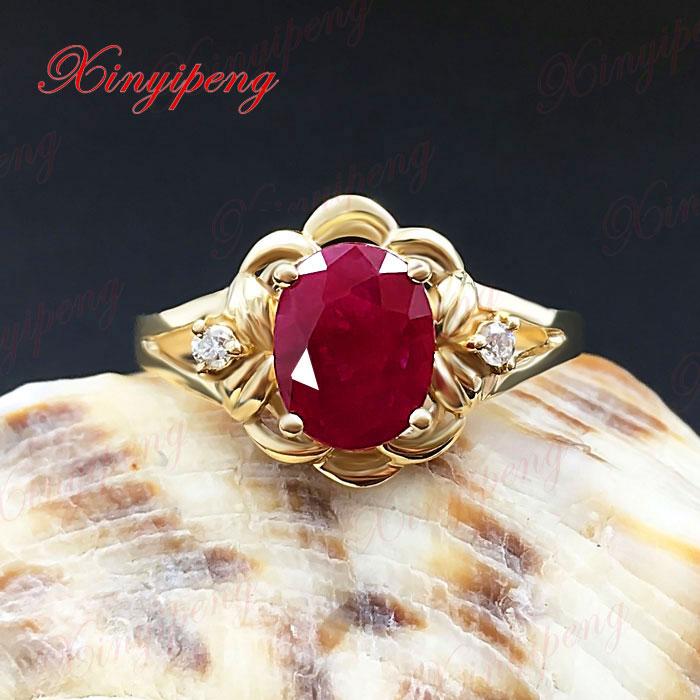 18 Karat Gold eingelegten natürlichen Rubinring Frauen Diamant A - Edlen Schmuck - Foto 2