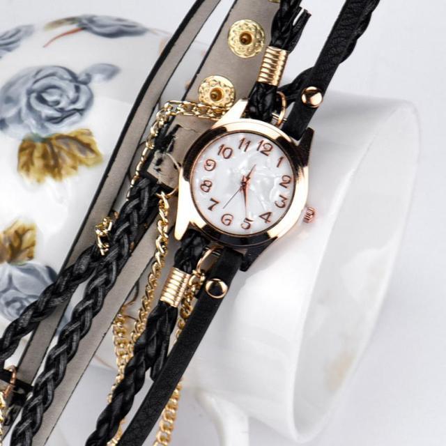 #5001 Leisure Fashion Woman Watch 1PC Leather Strap Braided winding Rivet Bracel