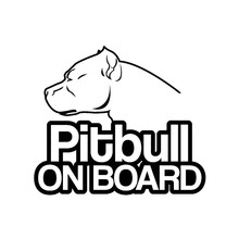 15CM * 13CM Pit bull ON BOARD Dog Cute Interesting Fashion Vinyl Car Motorcycle Sticker Decal