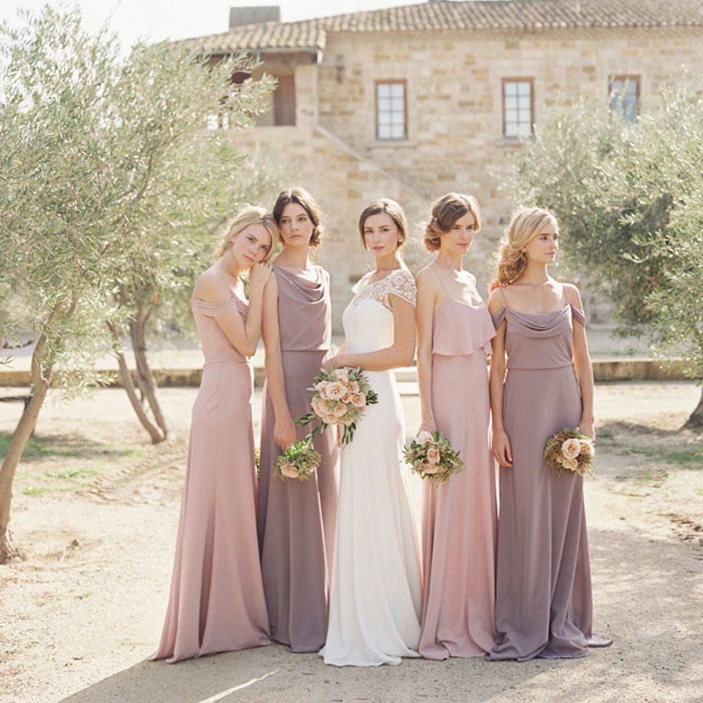 simple elegant lavender bridesmaid dresses long blush bridesmaid dress spaghetti straps satin cheap wedding bridesmaid gowns b5 in bridesmaid dresses from
