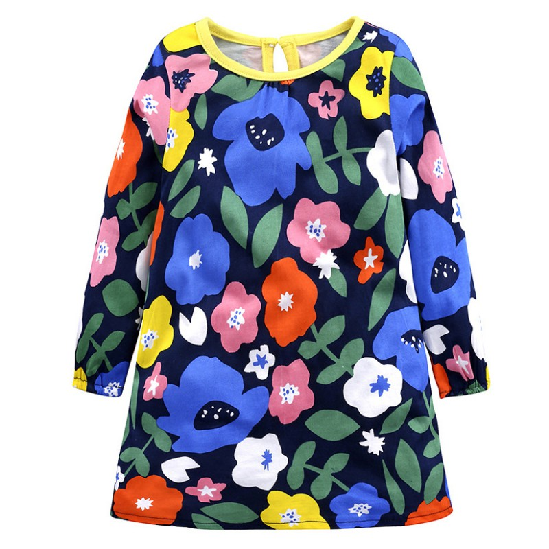 Fashion Baby Girl Dress With Cartoon Pattern And Full Sleeve Comfortable For Kids Dressing In Different Places