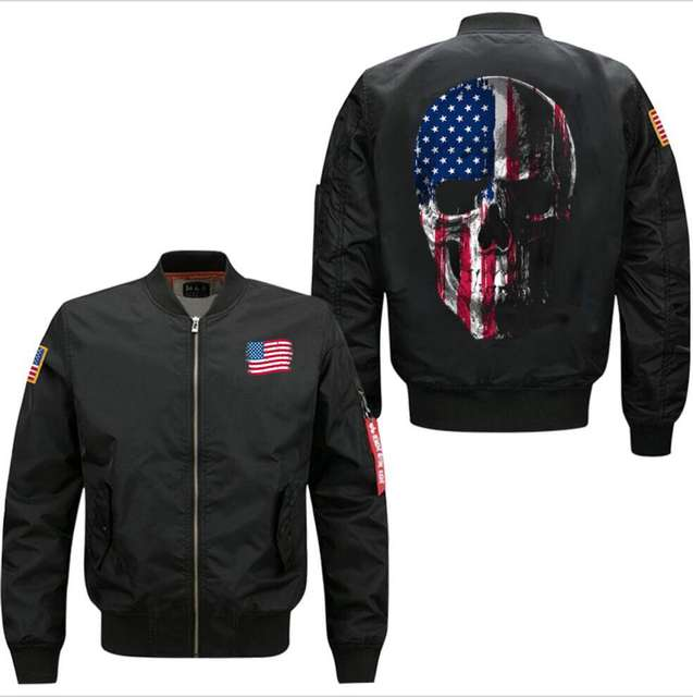 AMERICAN SKULL FLAG BOMBER JACKET (3 VARIAN)