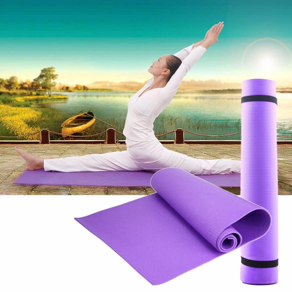Yoga Mat Pilates 6MM Thick Non-slip Exercise Pad Gym Belt Fitness Sports Slim 68x24x0.24 Inch Elastic Folding Floor Play Mats