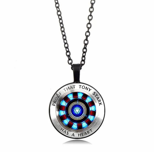 Iron Man Heart Time Toys Gemstone Necklace Poly Energy Glass Cabochon Pendant Marvel Tony Stark Arc Reactor Avengers arc reactor