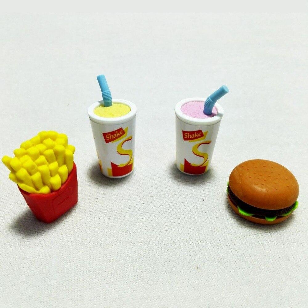Kawaii Style Eraser Hamburger Rubber French Fries Rubber Milk Shake Food Rubber School Erasers For Kids Borracha Escolar
