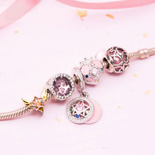 Sailor Moon 20th Anniversary Pink The Cosmic Heart Compact 925 Sterling Silver Beaded Bracelet Hand Chain Cosplay Gift N1(China)
