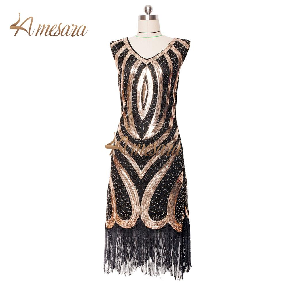 Vintage 1920s Flapper Dress Great Gatsby Sequin Cocktail Party Dresses Plus Size