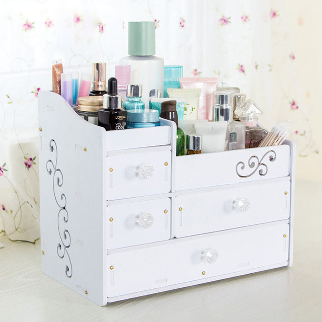 Delightful Cute Cosmetic Organizer Storage Box Cabinet With Drawer Wood DIY Office  Table Desktop Makeup Storage Organizer