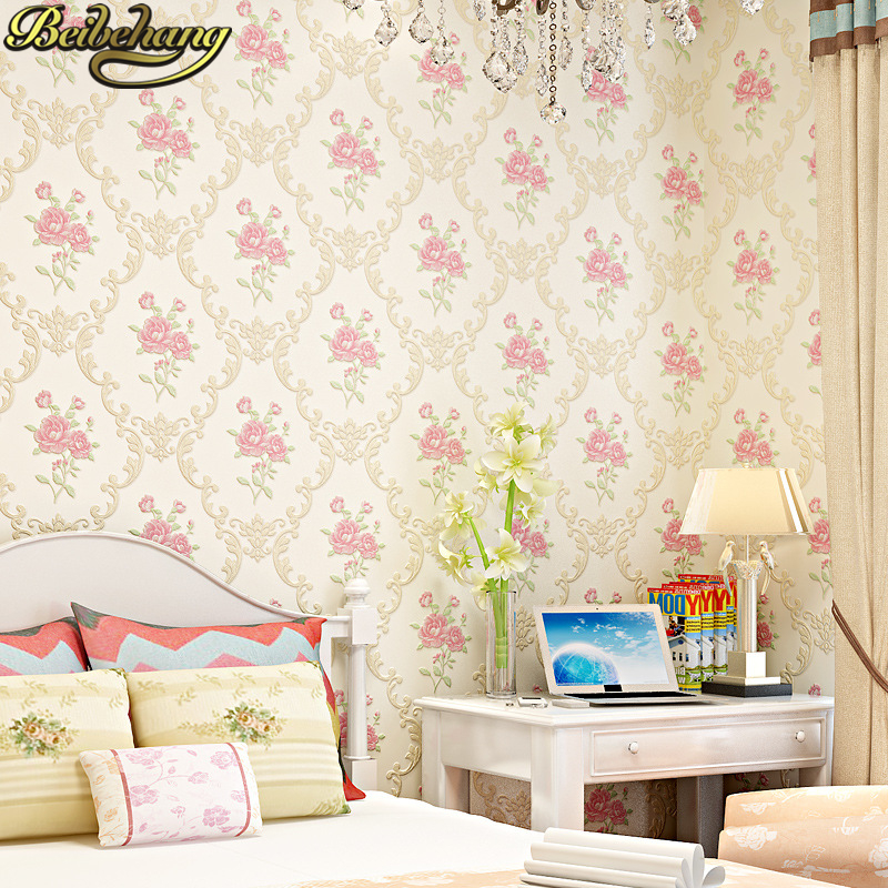 beibehang Pastoral pink Flowers wallpaper TV background papel de parede 3d mural wall paper roll for living room decor bedroom in Wallpapers from Home Improvement