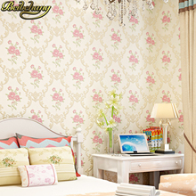 цена на Pastoral non woven pink Flowers wallpaper TV background papel de parede 3d mural wall paper roll for living room decor bedroom