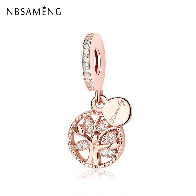 925 Sterling Silver Bead Family Tree Heritage Dangle Rose Gold Charm