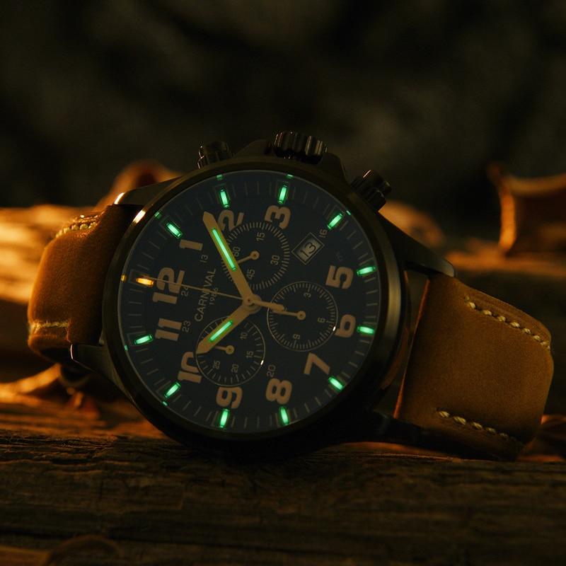 Chronograph2018 Carnaval Tritium Lumineux hommes montres de luxe marque Ronda quartz chronomètre hommes véritable bracelet en cuir horloge saati