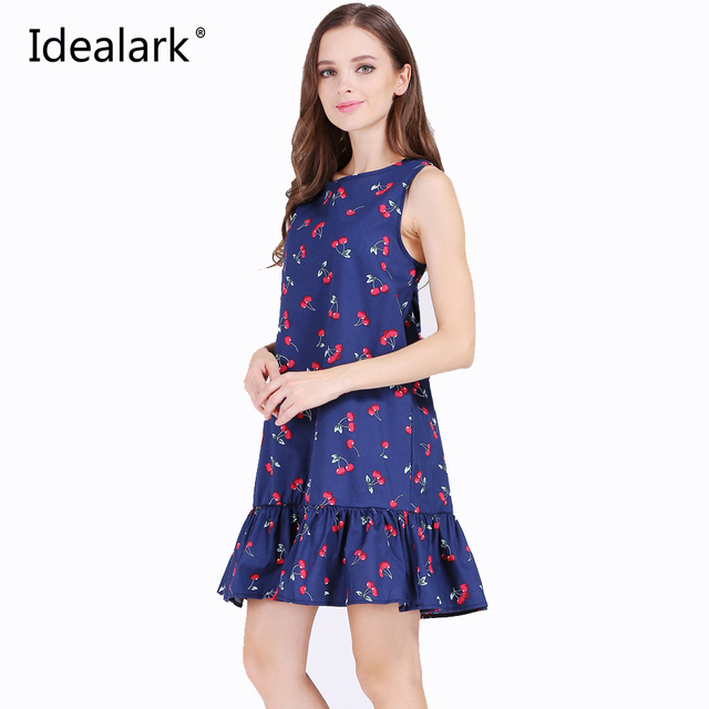 Idealark 100% coton sans manches sexy ruches femmes dress summer casual une ligne beach party dress vestidos wc0589