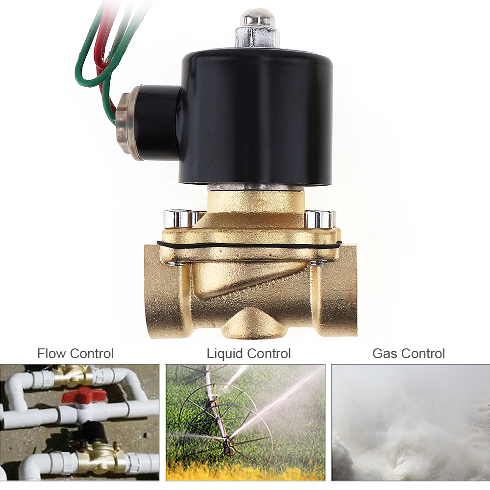 "3/4"" 1/4"" AC 110V / 220V Electric Solenoid Valve Brass Pneumatic Valve for Water / Oil / Gas"