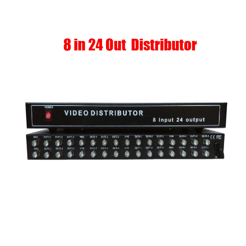 Free Shipping 8 In 24 Out  Video Distributor Amplifier 8CH To 24CH Splitter For CCTV Security Camera DVR System