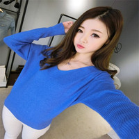 2018 Autumn Winter Cashmere Sweaters Women Fashion Sexy V neck Sweater Loose 100% Wool Sweater Batwing Sleeve Plus Size Pullover