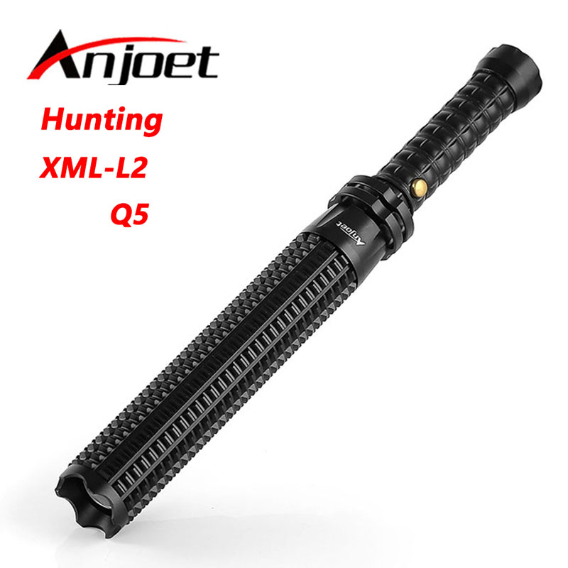 Tactical Zoomable Flashlight XML L2 Q5 Led torch light rechargeable lantern For 18650/AAA for self defense telescopic baton|light flashlight|flashlight q5|flashlight light - title=