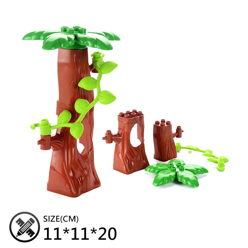 Оригинальные большие строительные блоки кирпичи Дерево Цветок Трава дверь кровля аксессуар детские игрушки Сделай Сам совместим с Duplo город набор подарок