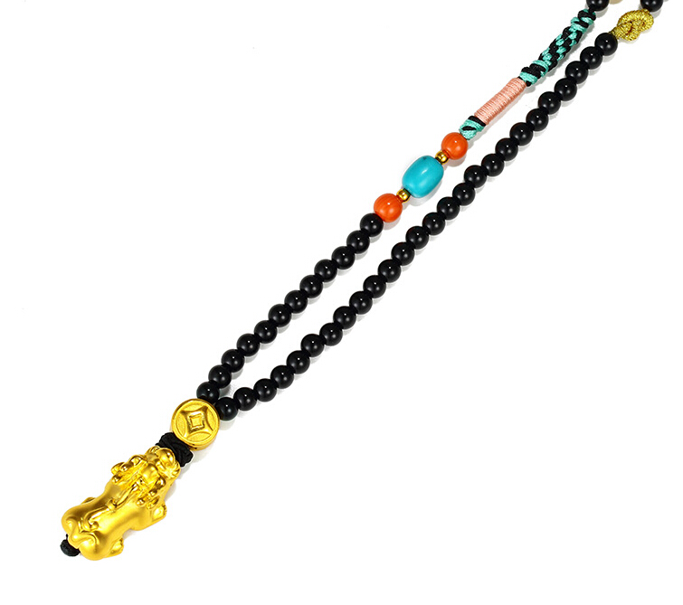 New Arrival Pure 24K Yellow gold 3D Dragon Son Pendant Buddha Beads Necklace