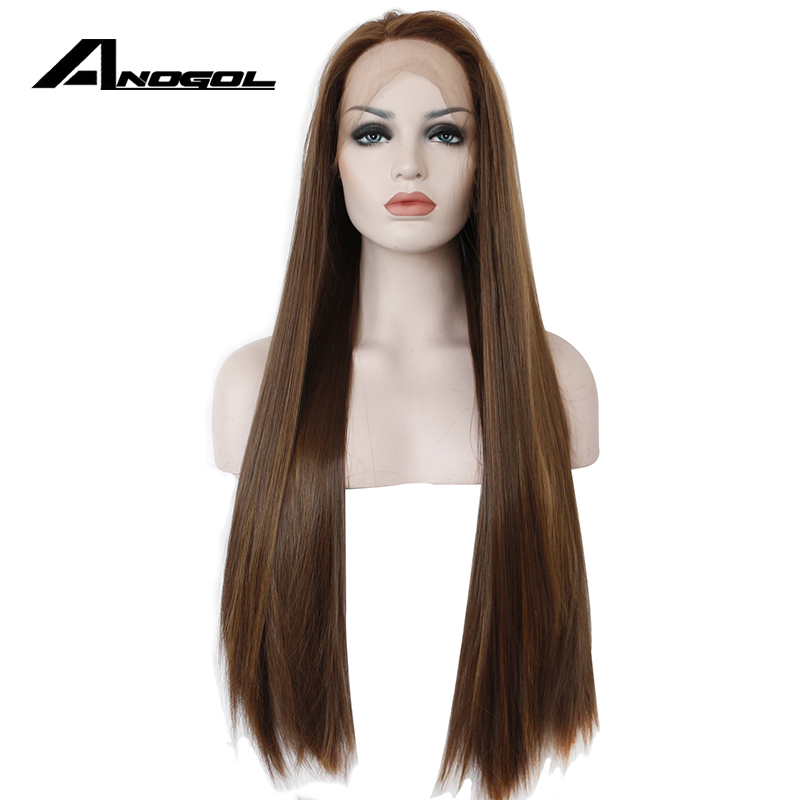 Anogol Dark Brown Lace Front Wig Natural Long Straight Glueless Synthetic High Temperature Heat Resistant Fiber Hair Women Wigs-in Synthetic None-Lace  Wigs from Hair Extensions & Wigs