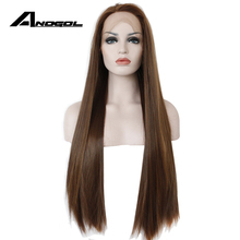 Anogol peluca con malla frontal Natural para mujer, pelo largo, liso, sintético, sin pegamento, resistente al calor, color marrón oscuro