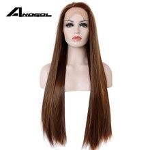 Anogolダークブラウンレースフロントウィッグナチュラルロングストレートグルーレス合成高温耐熱性繊維の毛女性かつら