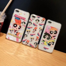Cute Powerpuff Girls Policemen INS Phone Case For iphone Xs MAX XR X 6 6s 7 8 plus Fun Couple soft TPU back Cover Fundas