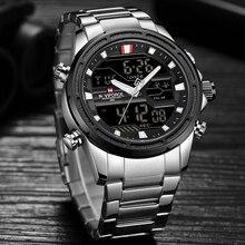 Новые часы Для мужчин Роскошные Топ Марка Naviforce светодио дный Для мужчин спортивные часы Водонепроницаемый полный Сталь кварцевые Для мужчин смотреть Relogio Masculino