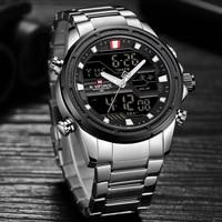 New Watches Men Luxury Top Brand Naviforce LED Men Sports Watches Waterproof Full Steel Quartz Men's Watch Relogio Masculino
