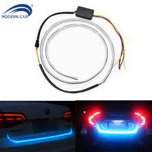 MODERN CAR RGB Dynamic Streamer Rear Trunk Lights Multicolor Tail Box Light Brake Turn Signal Warning LED 120/150CM Strip Lights(China)
