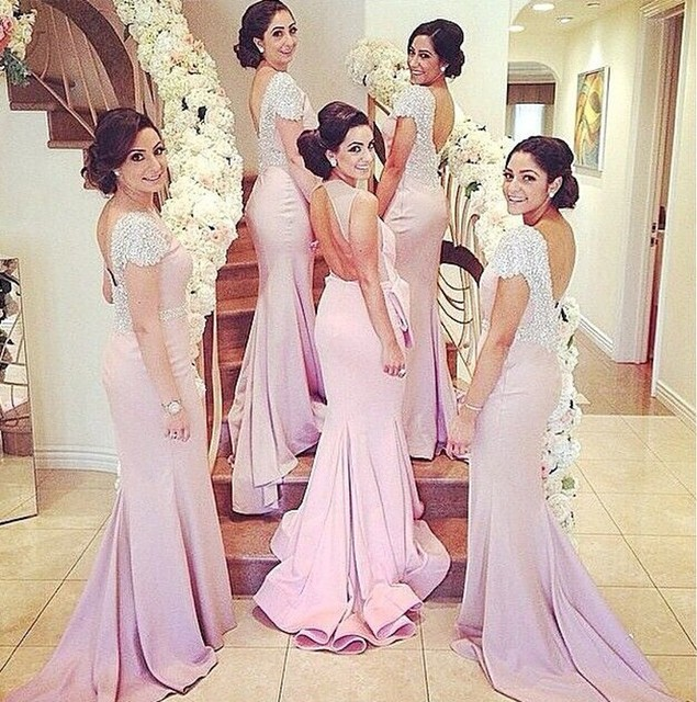 Sparkly Hot Short Sleeves Crystal Bridesmaid Gown Peach Ivory Champagne Silver Lavender