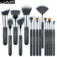 JAF 15 Pcs Brush Set Professional Face Eye Shadow Eyeliner Foundation Blush Lip Makeup Brushes Powder