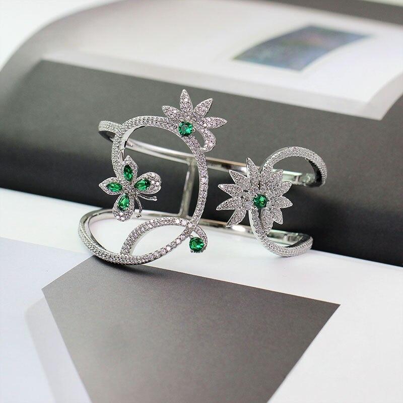 Luxury Mint Green Zircon Butterfly Flower Bangle 925 Sterling Silver Pave Cubic Zirconia Wide Bracelet Women