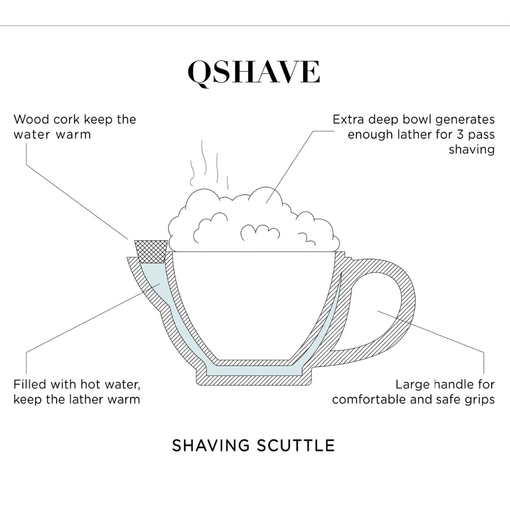 QSHAVE Razor Shaving Scuttle Mug Filled hot Water Keep Lather Always Warm It Large Size Bowl Handmade Pottery Cup Black & White 2