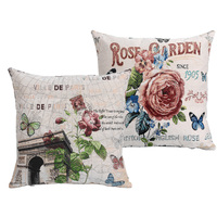 2pcs Lot New Rose Vintage Style Cotton Sofa Cushion Covers Set Pillow Cases Wholesale Promotion Home