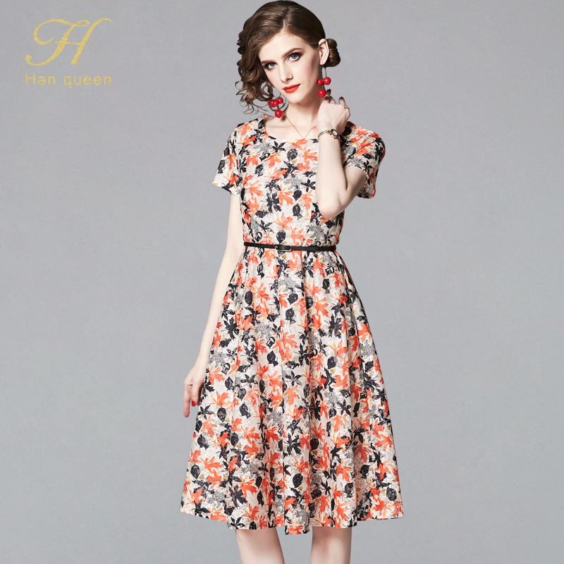 H Han Queen 2019 Summer Dresses Women's Fashion Slim Vintage Sexy Vestidos European Short Sleeve Casual Office Party Lace Dress