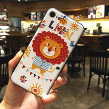 Applicable to iphone Xs case 6 7 8 X XR XMAX mobile phone shell painted embossed lion TPU soft anti-fall protective cover