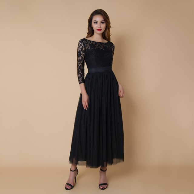 CAZDZY Elegant A Line Bridesmaid Dress 3 4 Sleeve Scoop Neck Ankle Length  Dress Wedding Party for Woman 5c735277798d