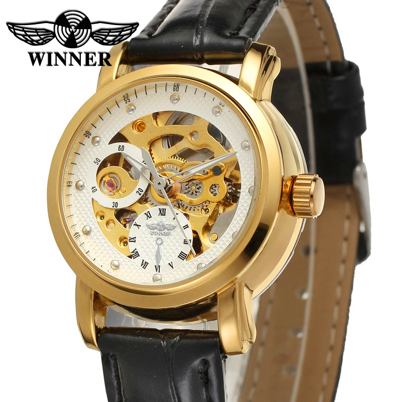 Fashion WINNER Brand Women Luxury Skeleton Leather Band Lady Watch Mechanical Hand Wind Wristwatches Gift Box Relogio Releges 2016 winner watches women lady luxury brand skeleton automatic mechanical wristwatches artificial leather band relogio feminino
