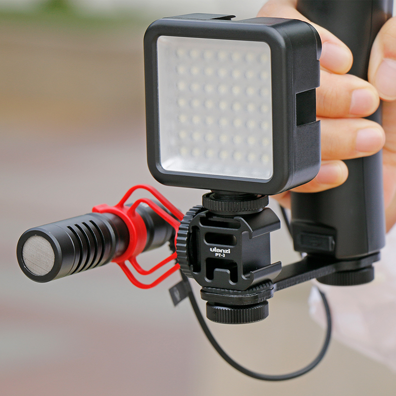 Image 4 - Ulanzi PT 3 Triple Hot Shoe Mount Adapter Microphone Extension Bar for Zhiyun Smooth 4 DJI Osmo Pocket Gimbal Accessories-in Photo Studio Accessories from Consumer Electronics