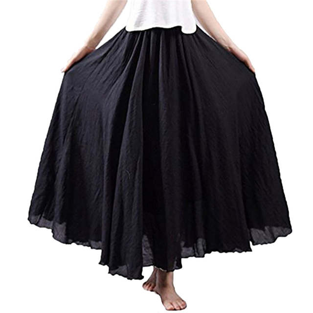 c3b9b593f6a90 Women Holiday Ethnic Cotton Linen Skirt Long Loose Party Casual Beach  Skirts Summer White Black Khaki Pea Green Solid Skirt