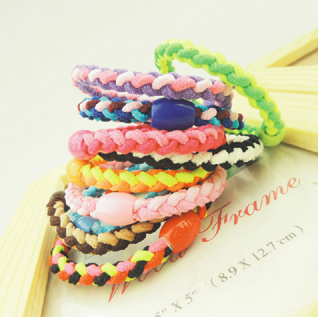 10 Pcs/lot Lovely Fashion Women Girls Hand Wave Colorful Braided Elastic Rubber Party Hairband Rope Ponytail Holder Hair Rope