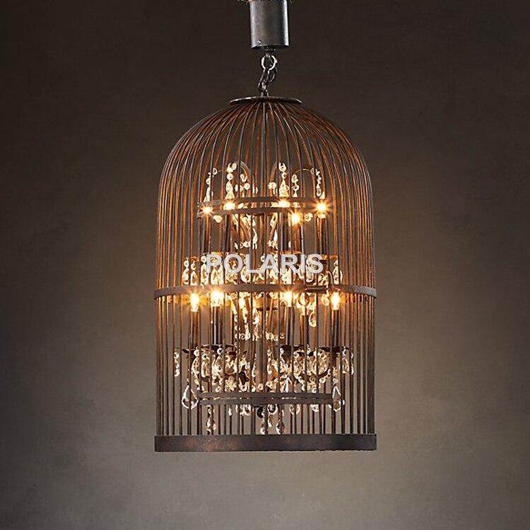 Vintage Rustic Birdcage Crystal Chandelier Lighting Black