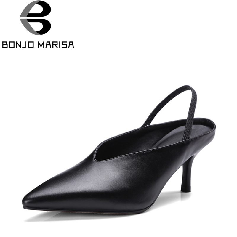 BONJOMARISA 2018 Summer Genuine Leather Black Mature Pointed Toe Mules Fashion Women Pumps Casual Shoes Woman High Heels women pumps flock high heels shoes woman fashion 2017 summer leather casual shoes ladies pointed toe buckle strap high quality