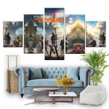 5 Piece HD Pictures The Division 2 Game Poster Tom Clacnys Shooting Artwork Canvas Paintings for Wall Decor