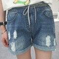 Envío gratis 2016 del verano nuevas mujeres de gran tamaño de cintura alta agujero cintura elástica pantalones cortos