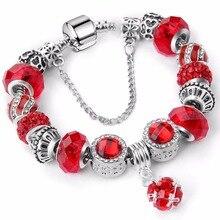2018 new Brand luxury crystal bracelet unique silver charm bracelet brand for women brand fine Bracelets & bangles jewelry gift