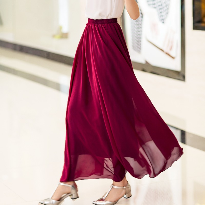 Plus Size Long Skirt Elegant Style Women Pleated Maxi Chiffon Skirts - Pakaian wanita - Foto 3