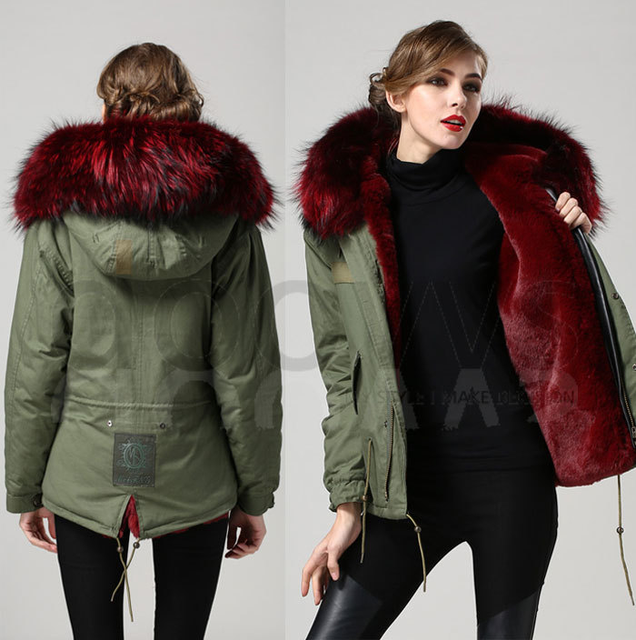 high quality sexy wine red Mrs real fur collar parka for women