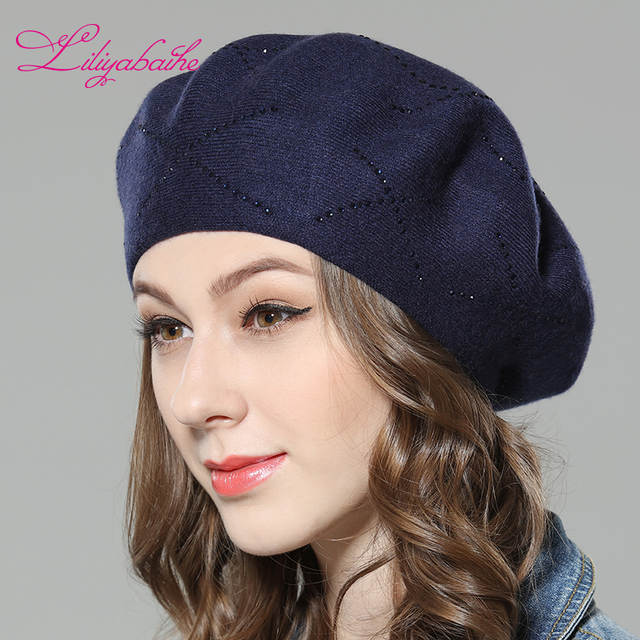 ad6ea67fc Liliyabaihe New women's winter hat Wool knit berets, caps with Cross  diamond decoration solid colors fashion lady hat